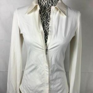 Cabi White Full Zip Up Long Sleeve Top Blouse